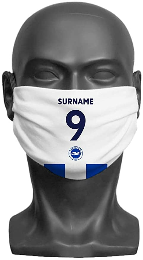 Brighton & Hove Albion - Personalised Back of Shirt Face Mask