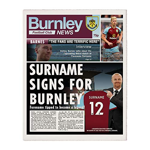 Burnley  - Official Personalised Burnley FC News Single Page Print