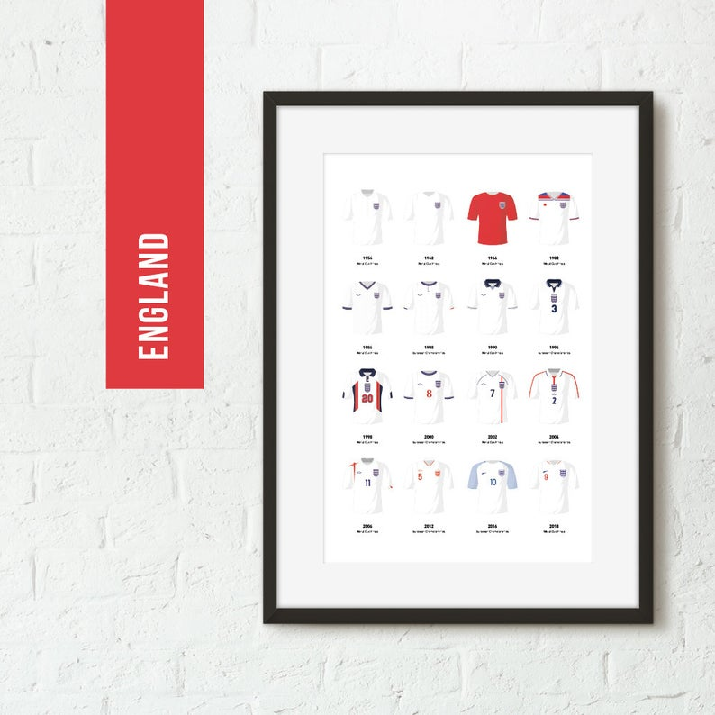 England Classic Kits Football Team Print