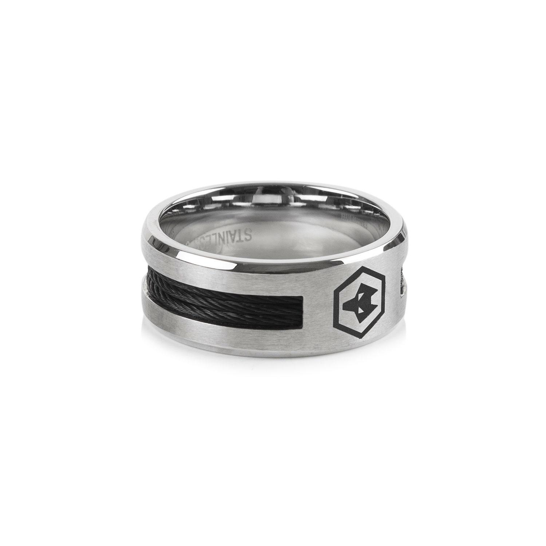 Black Inlay Crest Ring