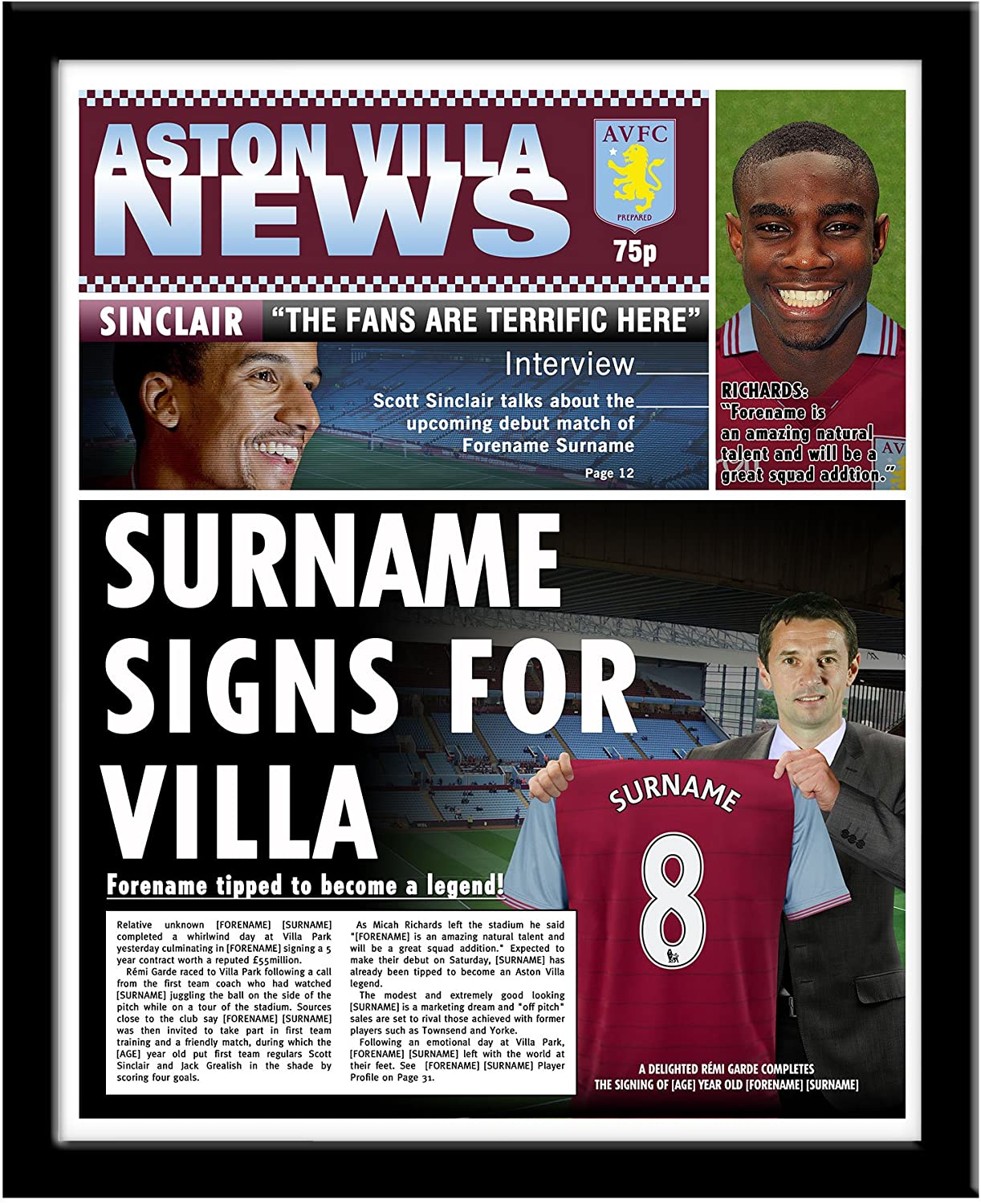 Official Personalised Aston Villa FC News Frame