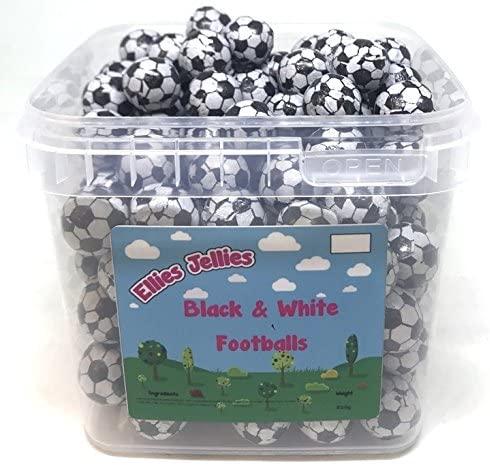 Ellies Jellies® Black & White Chocolate Footballs 850g Square Tub